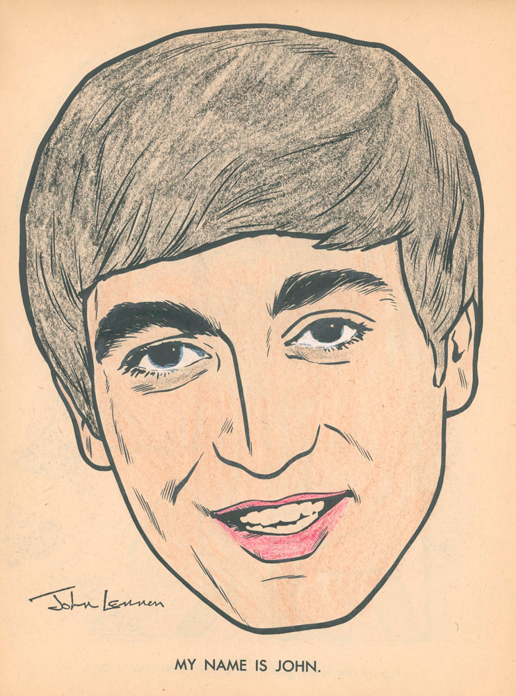 John Lennon coloring page. 1964 - The Beatles Official Coloring Book by The Saalfield Publishing Company