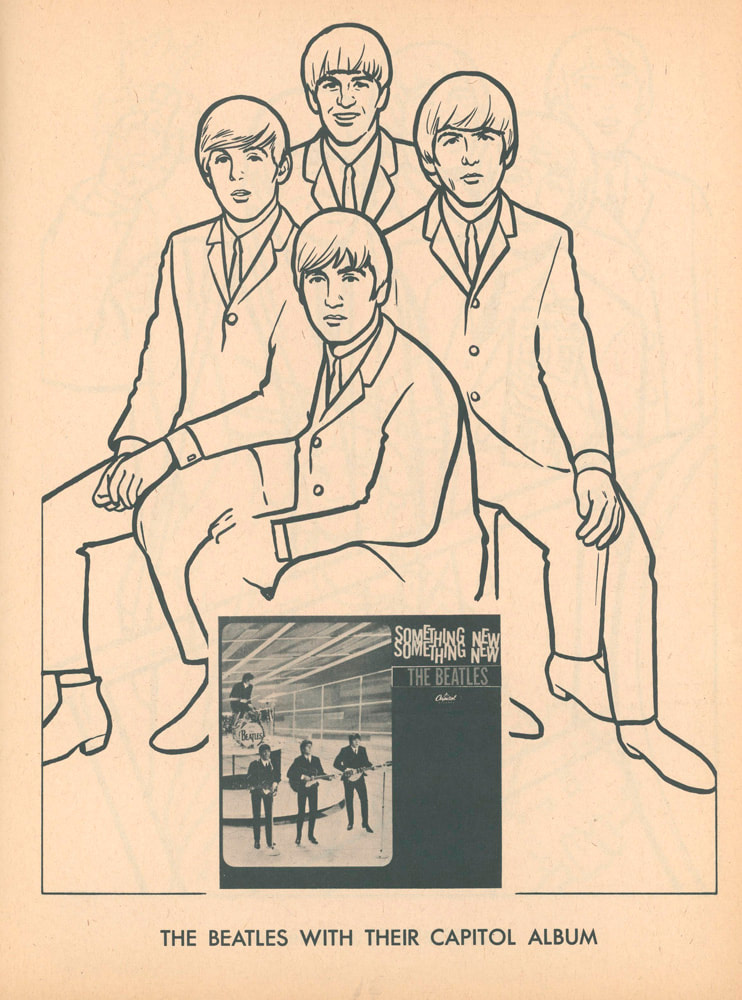 The Beatles with thier Capital album, Something New coloring page. 1964 - The Beatles Official Coloring Book by The Saalfield Publishing Company