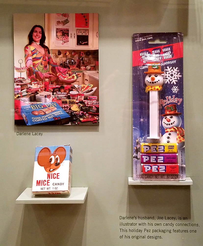 The Getty Gallery / Los Angeles Central Library Candy Wrapper Museum display: Darlene Lacey, Nice Mice, and Holiday PEZ.
