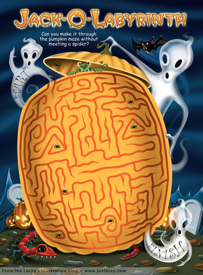 "Crayola Halloween BOOklet ""Jack-O'-Labyrinth"" maze.  by illustrator Joe Lacey."