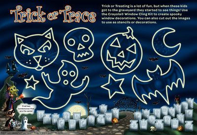 "Crayola Halloween BOOklet ""Trick or Trace"" craft page.  by illustrator Joe Lacey."