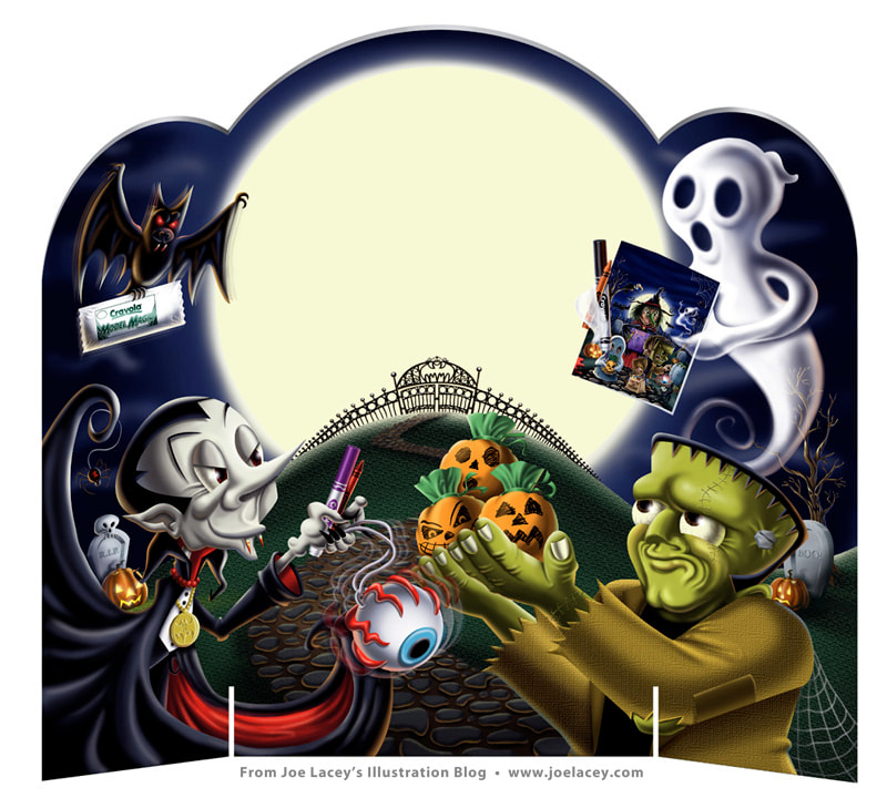 Crayola Halloween Booklet store riser by illustrator Joe Lacey.