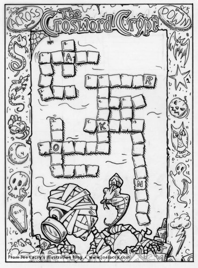 "Crayola Halloween BOOklet ""Crossword Crypt"" word puzzle  by illustrator Joe Lacey."
