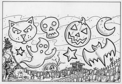 "Crayola Halloween BOOklet ""Trick or Trace"" craft page  by illustrator Joe Lacey."