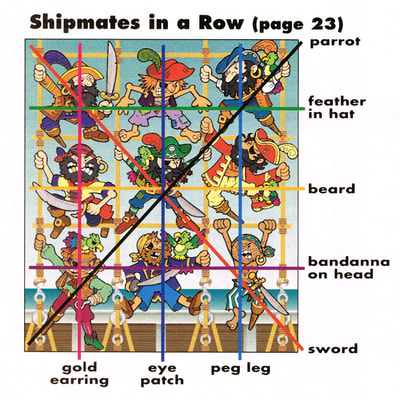"Crayola Kids Magazine ""9 Shipmates in a Row"" illustration by Joe Lacey. Answer key."