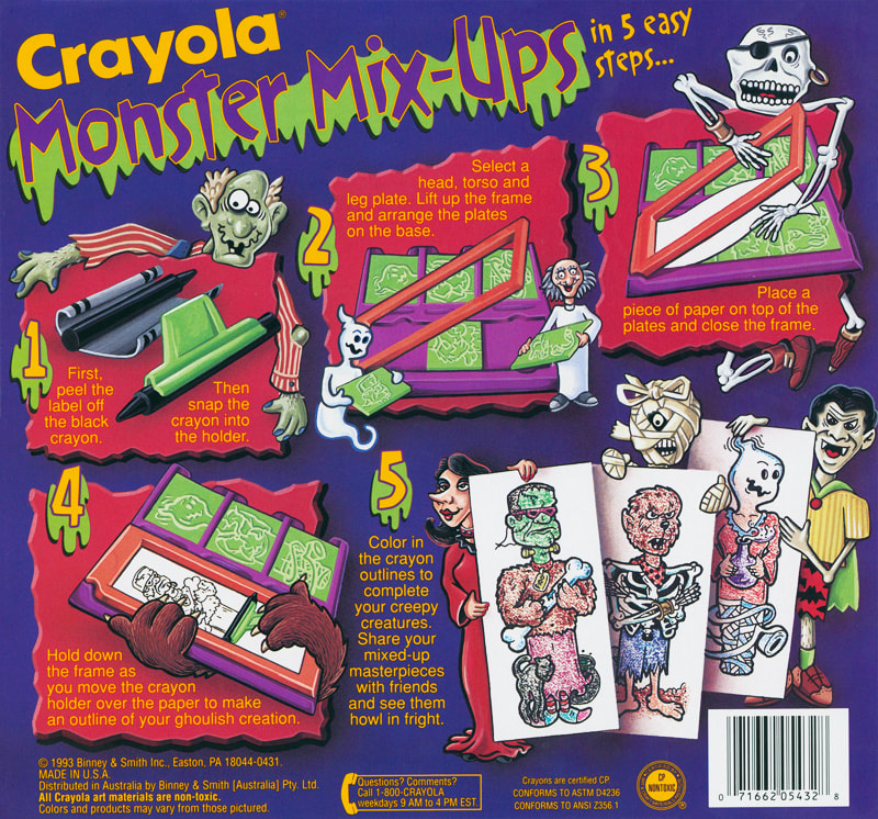 Crayola Monster Mix-Ups rubbing plates toy by illustrator Joe Lacey. Back of box packaing.