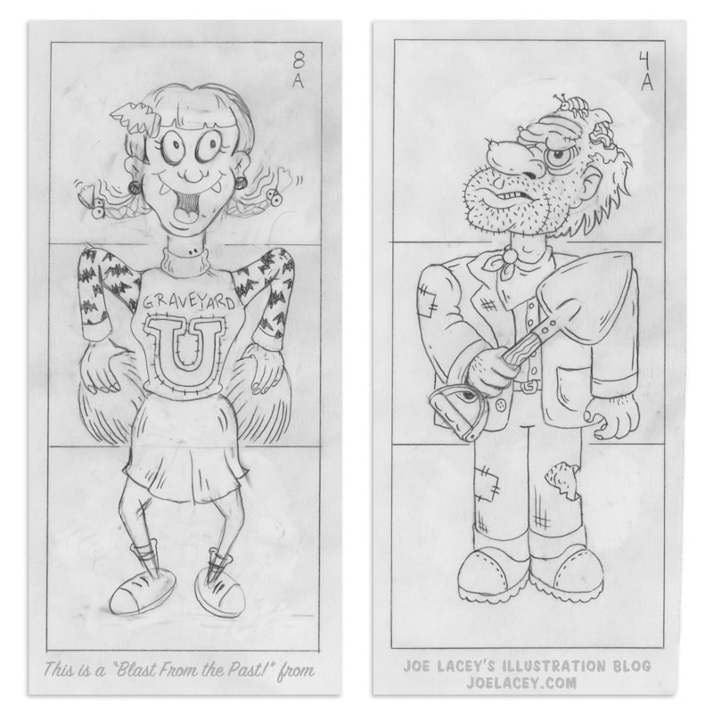 Crayola Monster Mix-Ups rubbing plates character design sketches of a zombie cheerleader and a gravedigger by illustrator Joe Lacey.