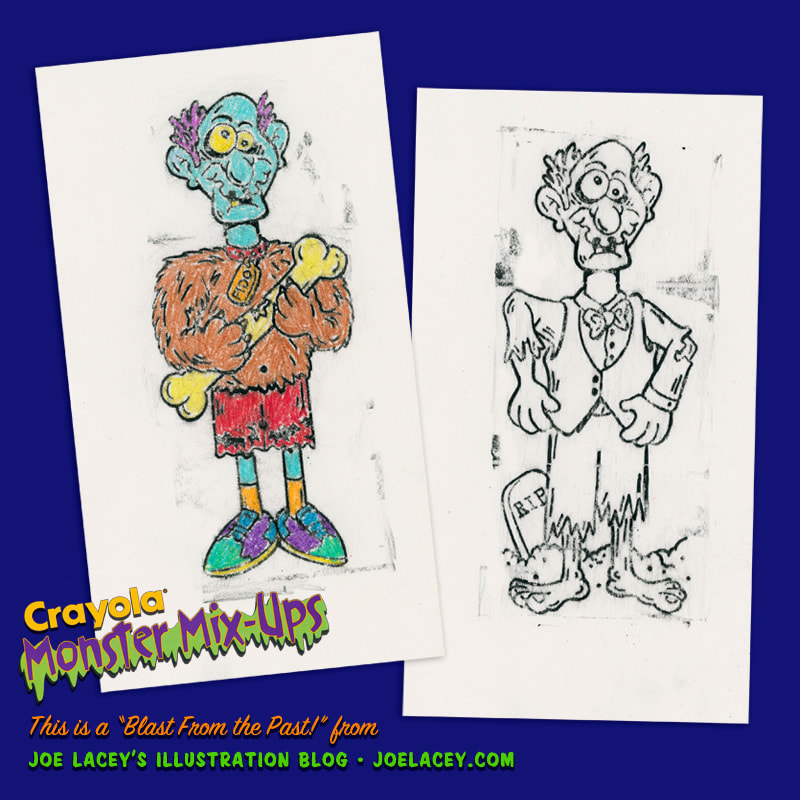 Crayola Monster Mix-Ups rubbing plates toy by illustrator Joe Lacey. Crayon colored children's drawing of zombie and wolfman.