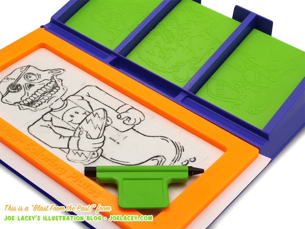 Crayola Monster Mix-Ups rubbing plates toy by illustrator Joe Lacey with skeleton ghost holding a skateboard and wearing a
