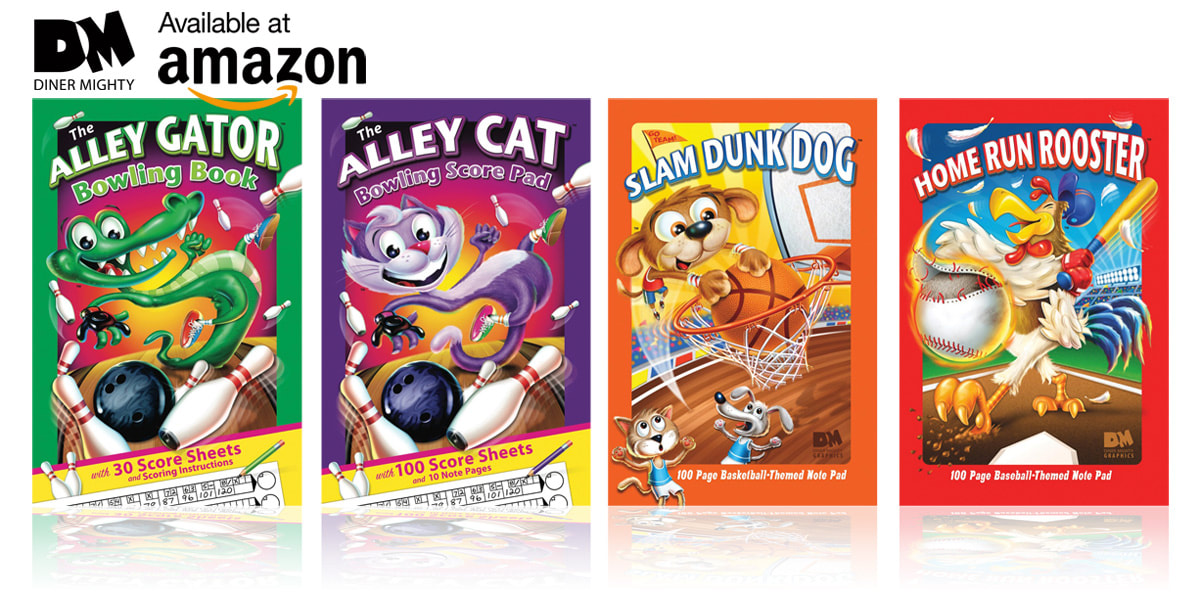 The Alley Gator Bowling Book, The Alley Bowling Score Pad, Slam Dunk Dog Note Pad, Home Run Rooster Note Pad. Sports books for kids by illustrator Joe Lacey. Published by Diner Mighty Graphics.