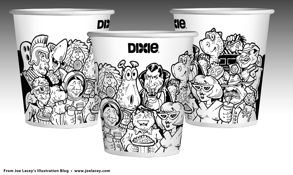 Dixie Cup movie theater design by illustrator Joe Lacey
