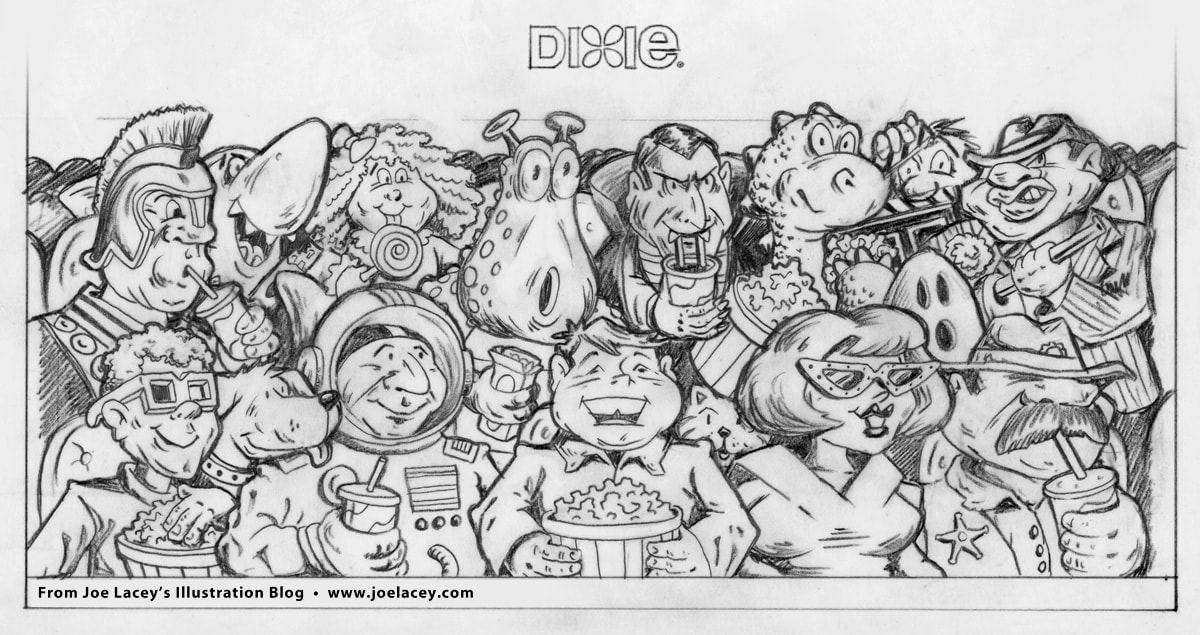 Pencil sketch for Dixie Cup movie theater design. This version shows all the characters looking toward the right. I changed this in the inking to have them looking toward the center, because the art was a wrap-around.
