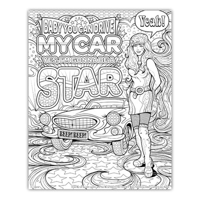 DRIVE MY CAR Artwork by Joe Lacey for the Crayola Signature Coloring Songbook, Lyrics by John Lennon & Paul McCartney