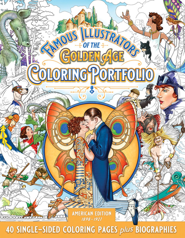 Famous Illustrators of the Golden Age Coloring Portfolio adult coloring book by illustrator Joe Lacey Diner Mighty Publishing