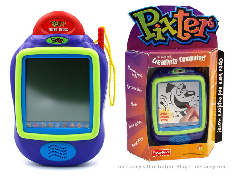 Fisher-Price PIXTER video hand-held game black and white unit and packaging