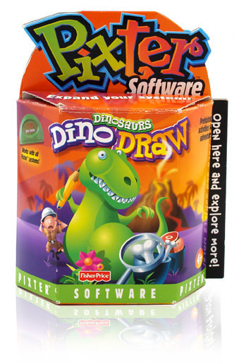 Fisher-Price PIXTER Dino Draw cartridge packaging.