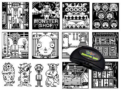 Fisher-Price PIXTER pixel art for the Monster Shop cartridge.