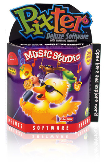 Fisher-Price PIXTER Music Studio cartridge packaging.