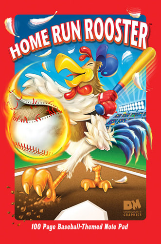 Home Run Rooster 100 page lined notebook with baseball terms and pictures from start to finish.