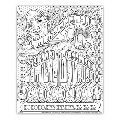 I AM THE WALRUS Artwork by Joe Lacey for the Crayola Signature Coloring Songbook, Lyrics by John Lennon & Paul McCartney