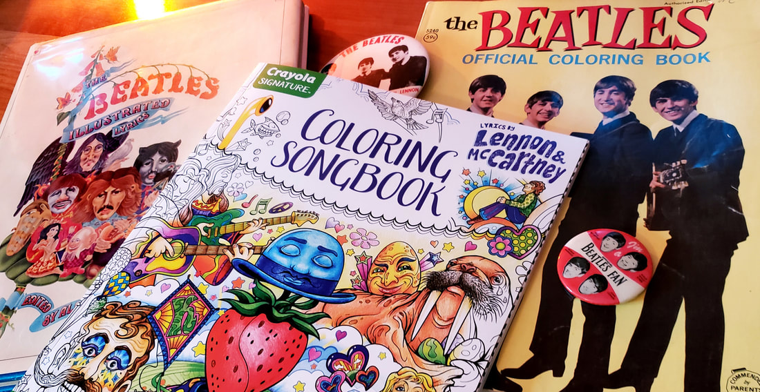 Crayola Signature Lyrics by Lennon & McCartney Coloring Songbook coloring book designed and illustrated by artist Joe Lacey.