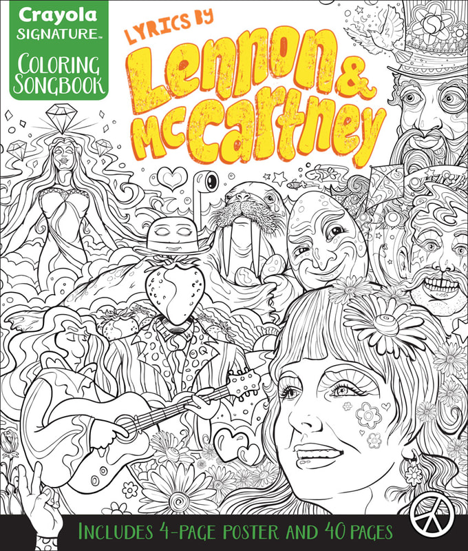 "My first layout of the ""Lyrics by John Lennon & McCartney Coloring Songbook"". Four of the images used for this comp were inked as final art. The rest of the images, Prudence, Lucy, Strawberry Man, Guitar Player, and small elements were rough sketches for placement. Art by Joe Lacey"
