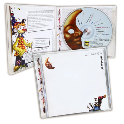"La Herejia CD ""Malabares"" with circus artwork by joe Lacey."