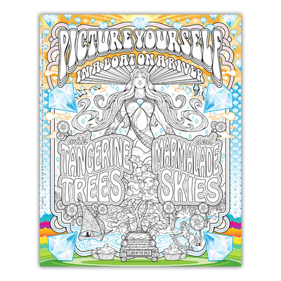 LUCY IN THE SKY WITH DIAMONDS Artwork by Joe Lacey for the Crayola Signature Coloring Songbook, Lyrics by John Lennon & Paul McCartney