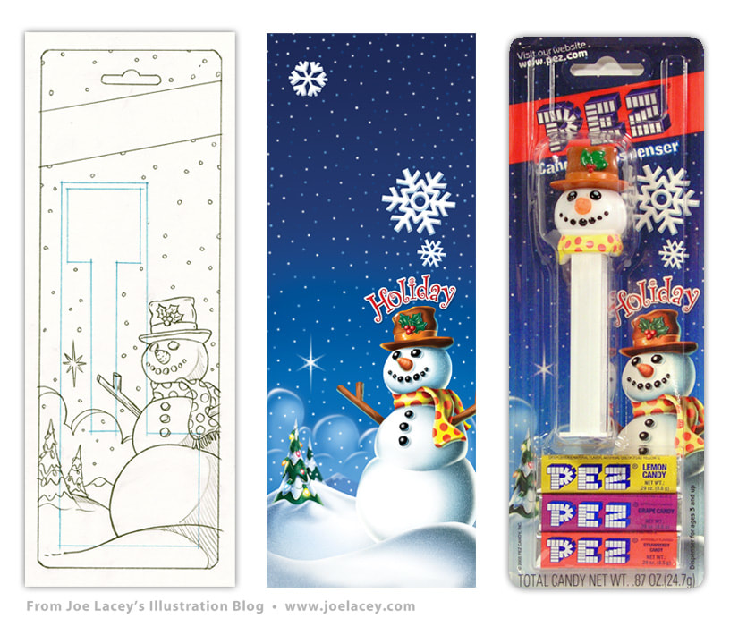 PEZ Holiday package art. Original pencil sketch, digital art, and final product packaging by illustrator Joe Lacey.Picture