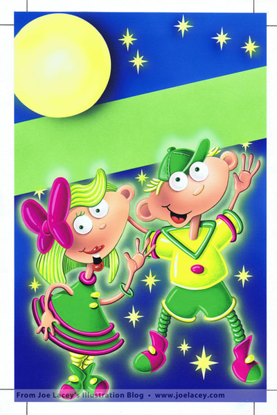 Glow-In-The Dark Silly Putty airbrush painting. Silly Putty package and character design by illustrator Joe Lacey.