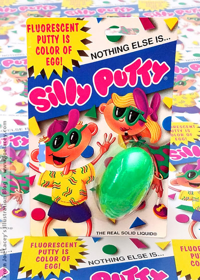 Fluorescent Silly Putty. Silly Putty package and character design by illustrator Joe Lacey.