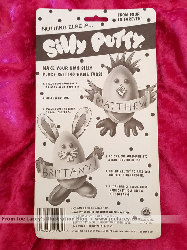 Holiday Easter Spring Fun Pack Silly Putty package. Back of packaging illustrated by Joe Lacey.