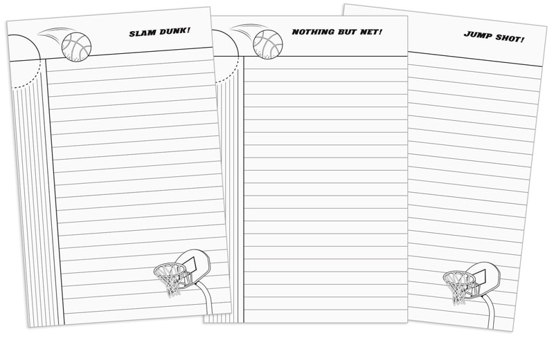 Slam Dunk Dog 100 page lined notebook with basketball terms and pictures from start to finish.