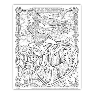 TICKET TO RIDE Artwork by Joe Lacey for the Crayola Signature Coloring Songbook, Lyrics by John Lennon & Paul McCartney