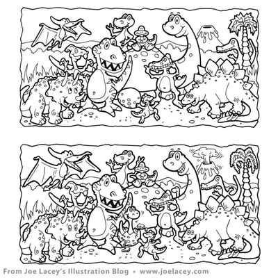"Crayola Kids Magazine activity game ""What's Different"" dinosaurs by illustrator Joe Lacey. Ink on vellum."