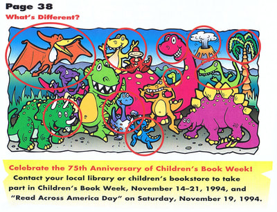 "Crayola Kids Magazine activity game ""What's Different"" dinosaurs by illustrator Joe Lacey. Answer key."