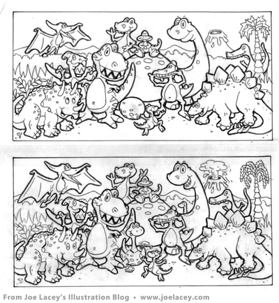 "Crayola Kids Magazine activity game ""What's Different"" dinosaurs by illustrator Joe Lacey. Tight pencil sketch."