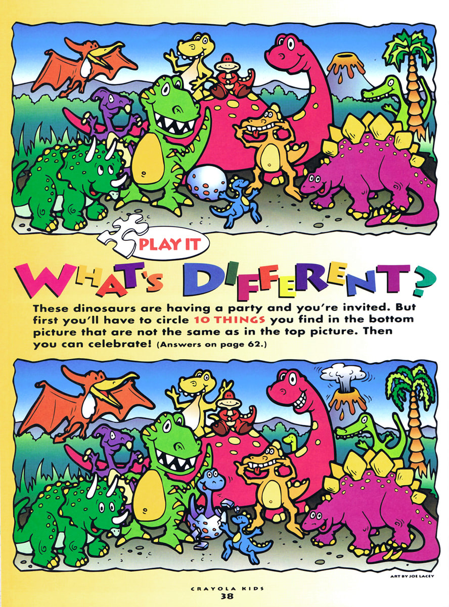 "Crayola Kids Magazine activity game ""What's Different"" dinosaurs by illustrator Joe Lacey."